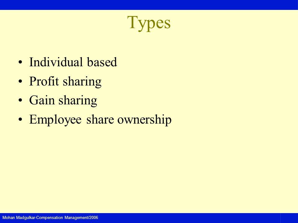 Types Individual based Profit sharing Gain sharing