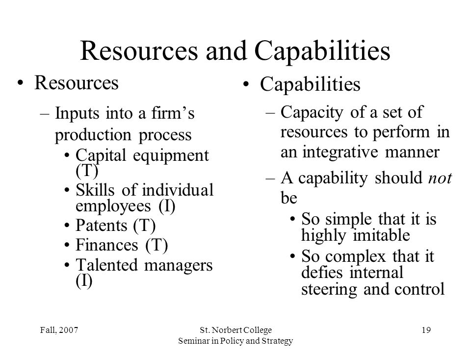 Resources and Capabilities
