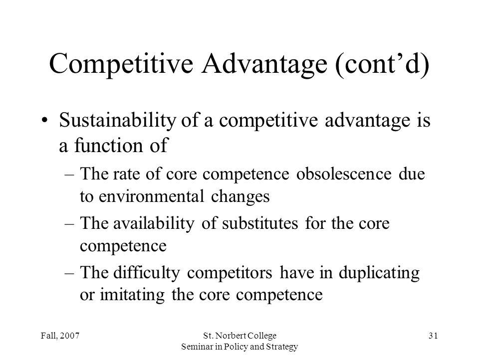 Competitive Advantage (cont'd)