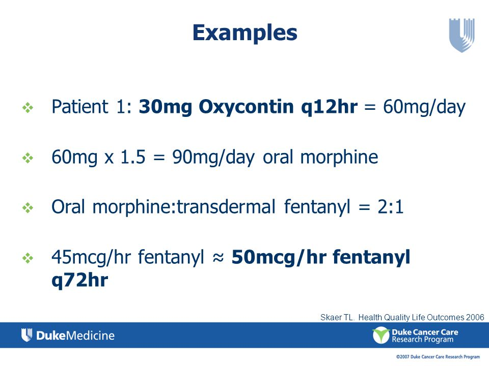 Examples Patient 1: 30mg Oxycontin q12hr = 60mg/day