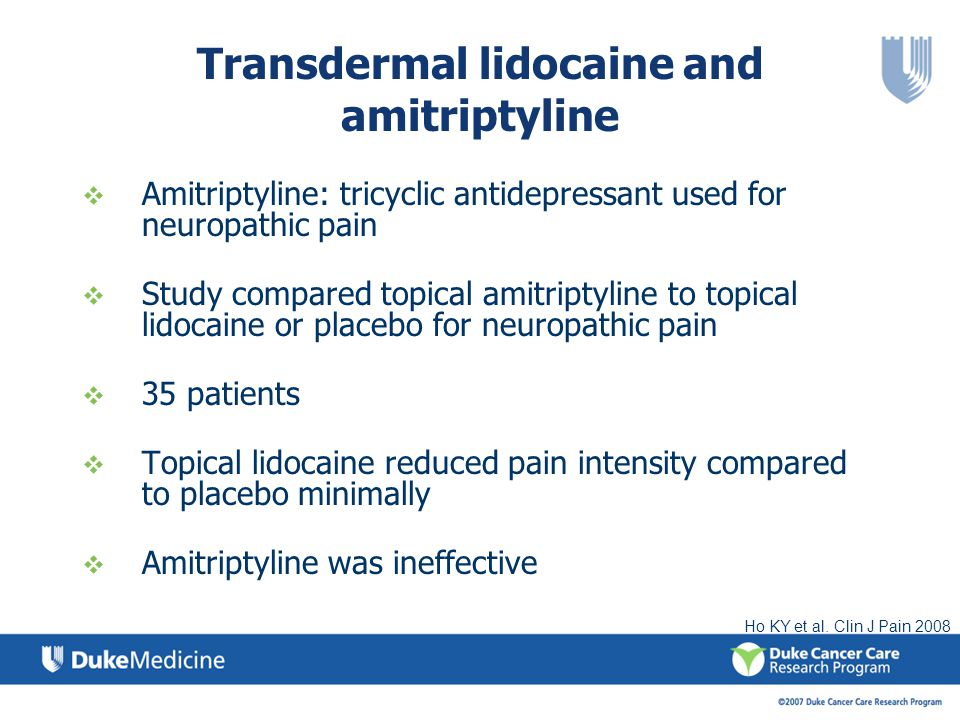 Transdermal lidocaine and amitriptyline
