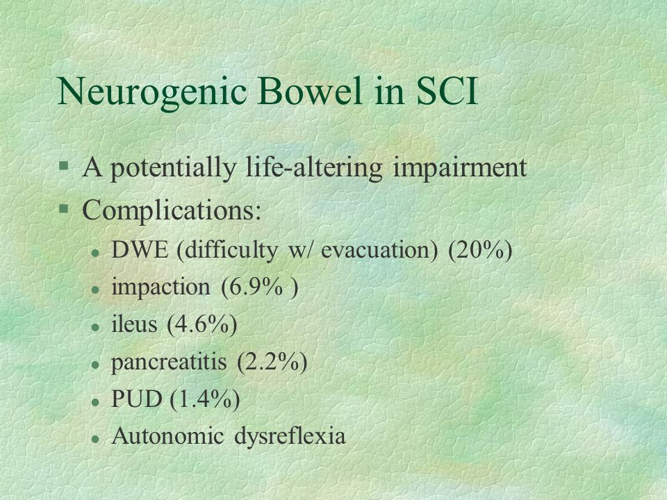 Neurogenic Bowel in SCI