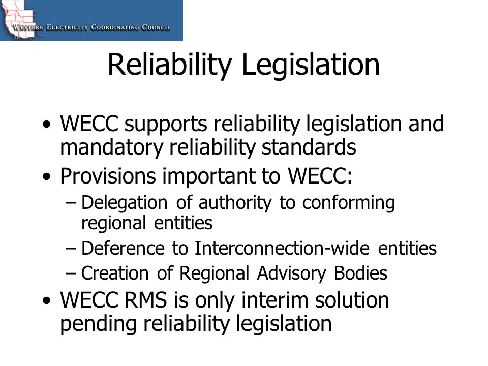 Reliability Legislation