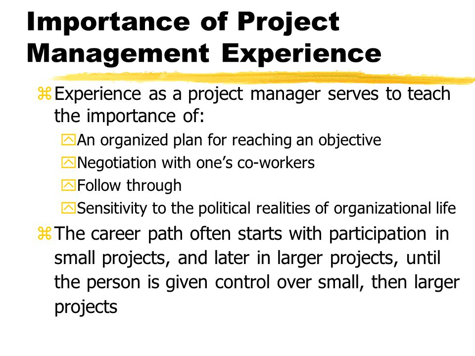 Importance of Project Management Experience