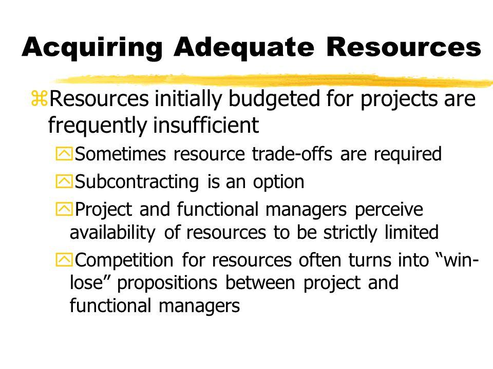 Acquiring Adequate Resources