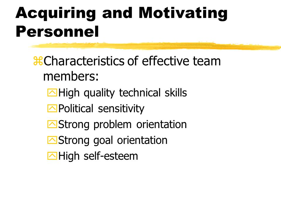 Acquiring and Motivating Personnel