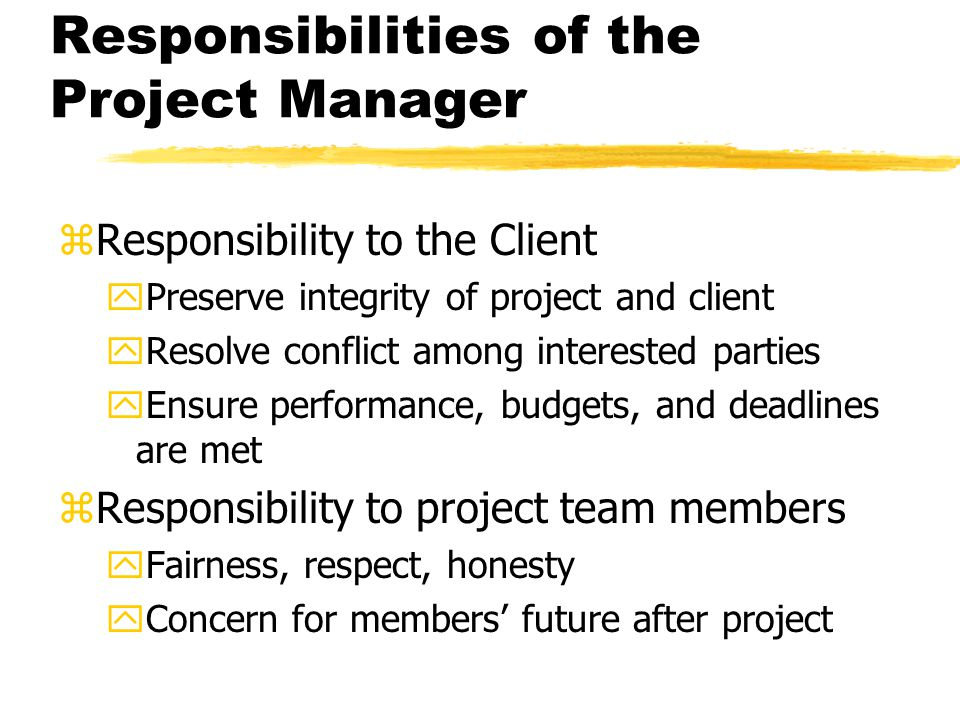 Responsibilities of the Project Manager