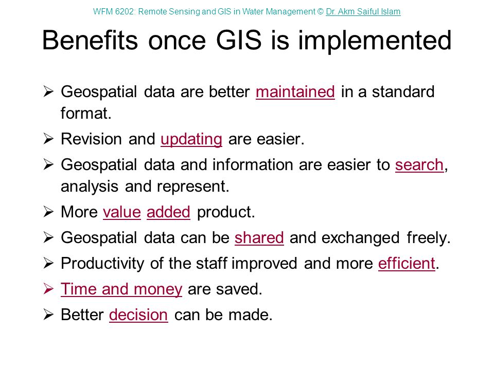 Benefits once GIS is implemented