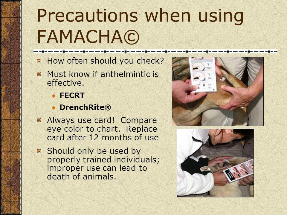 Precautions when using FAMACHA©
