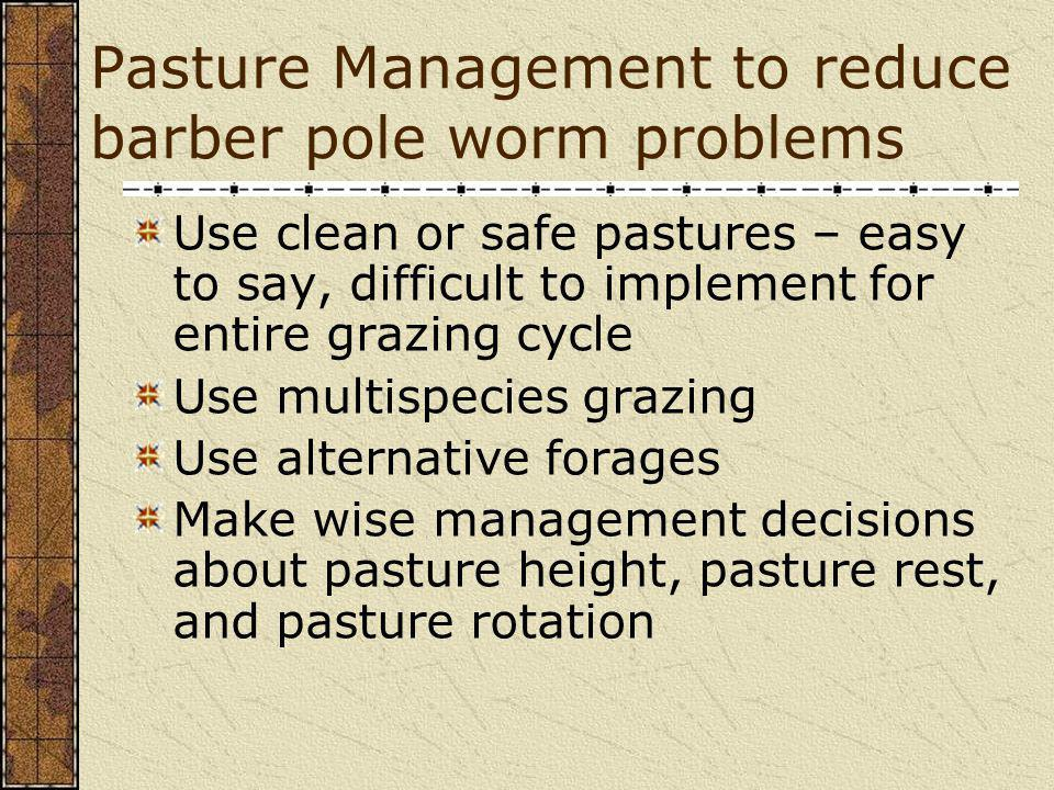Pasture Management to reduce barber pole worm problems