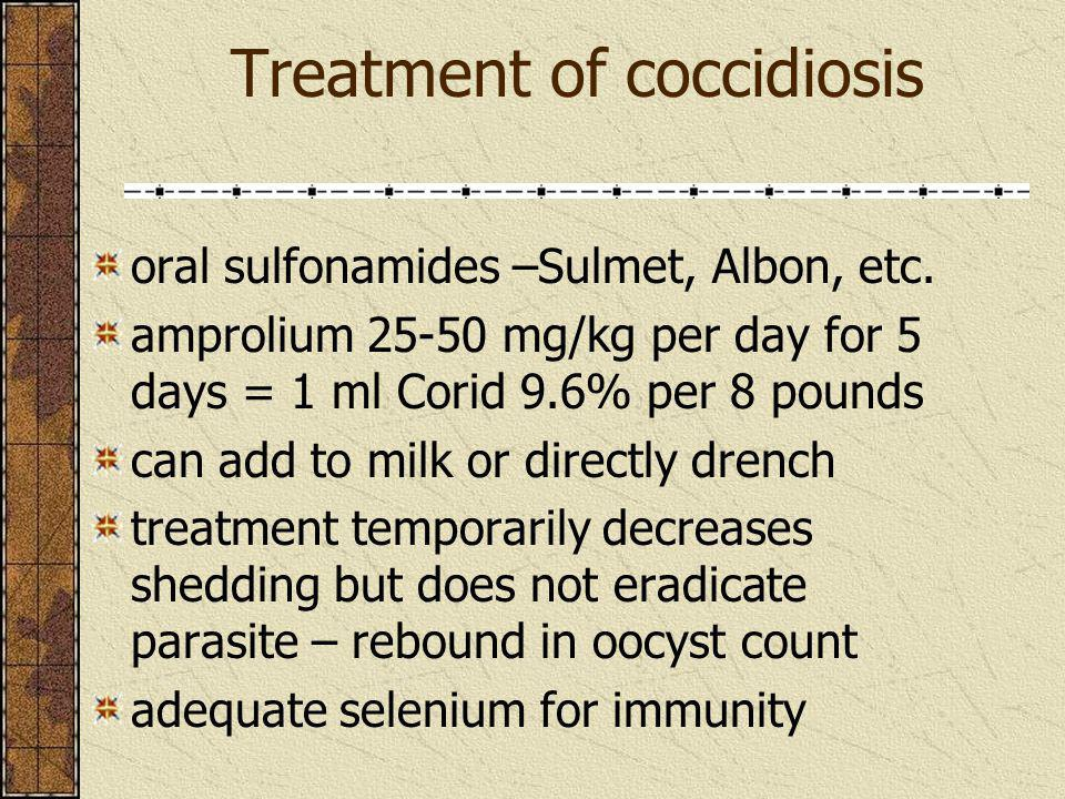 Treatment of coccidiosis