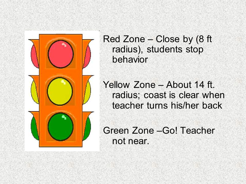 Red Zone – Close by (8 ft radius), students stop behavior
