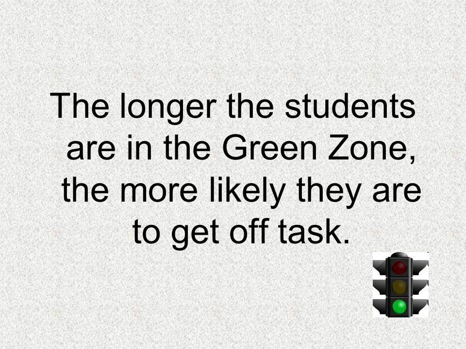 The longer the students are in the Green Zone, the more likely they are to get off task.