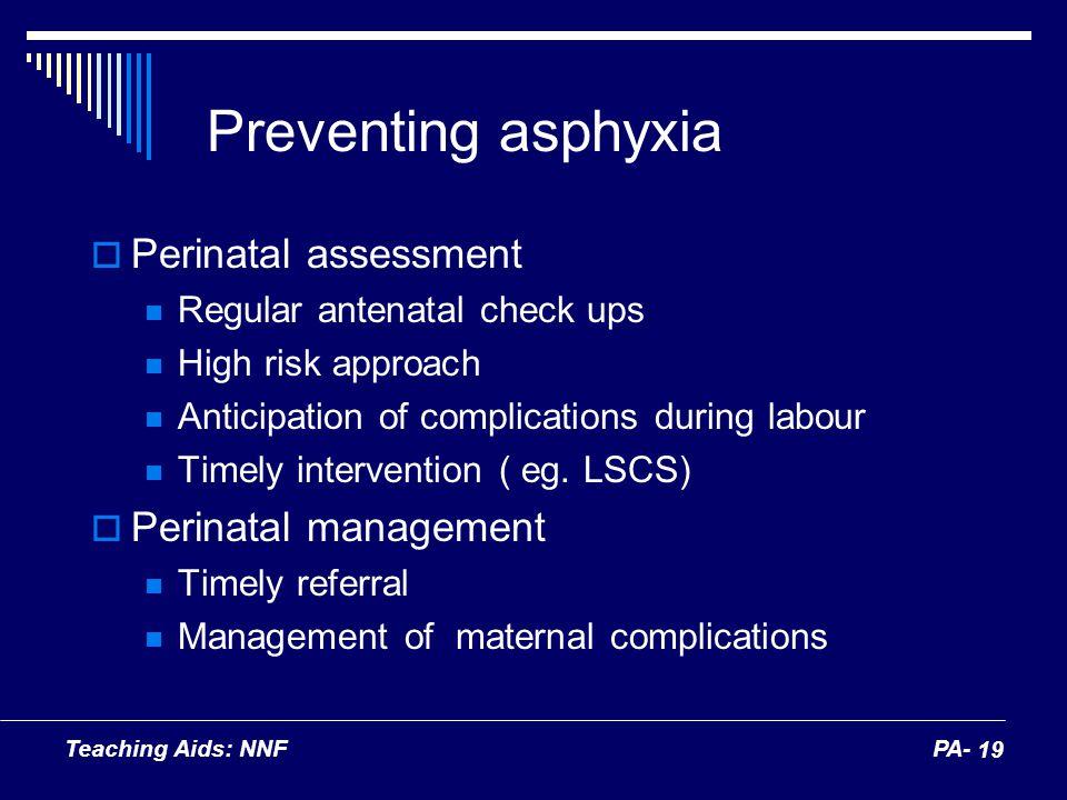 Preventing asphyxia Perinatal assessment Perinatal management