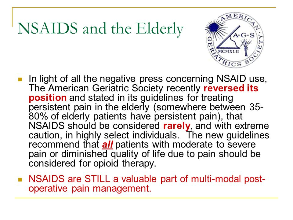 NSAIDS and the Elderly