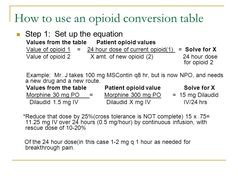 How to use an opioid conversion table