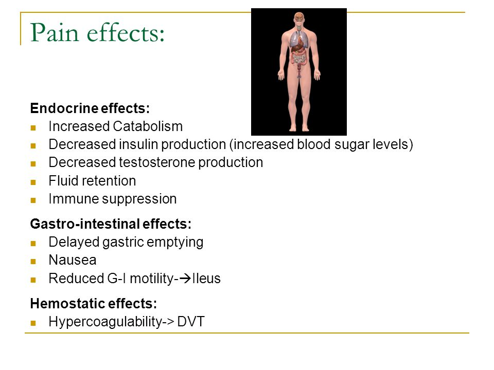 Pain effects: Endocrine effects: Increased Catabolism