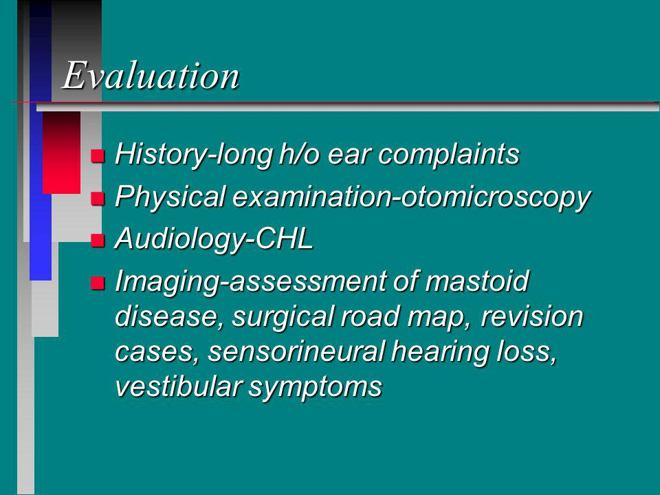 Evaluation History-long h/o ear complaints