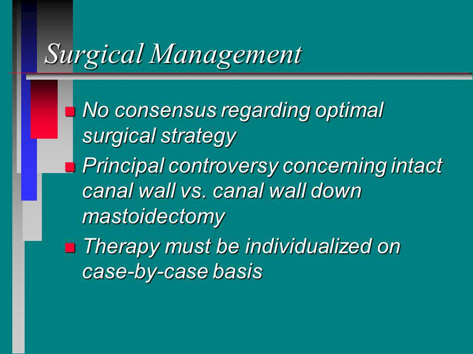 Surgical Management No consensus regarding optimal surgical strategy