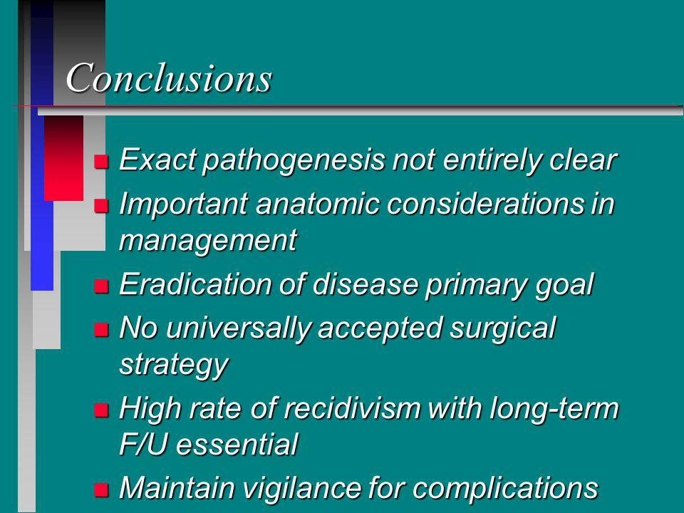 Conclusions Exact pathogenesis not entirely clear