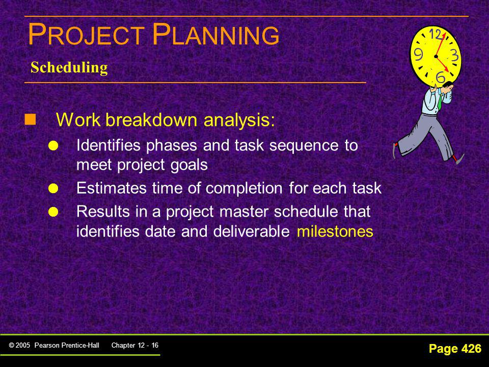 PROJECT PLANNING Work breakdown analysis: Scheduling