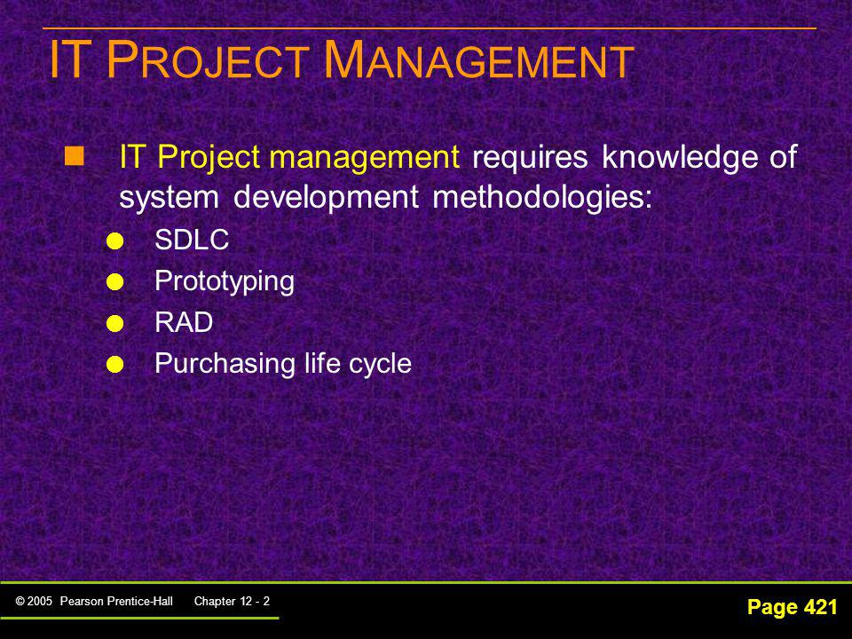 IT PROJECT MANAGEMENT IT Project management requires knowledge of system development methodologies: