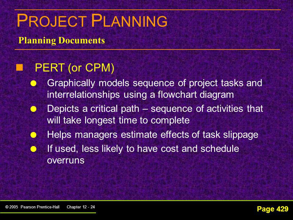 PROJECT PLANNING PERT (or CPM) Planning Documents