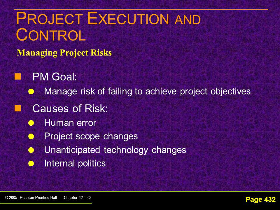 PROJECT EXECUTION AND CONTROL