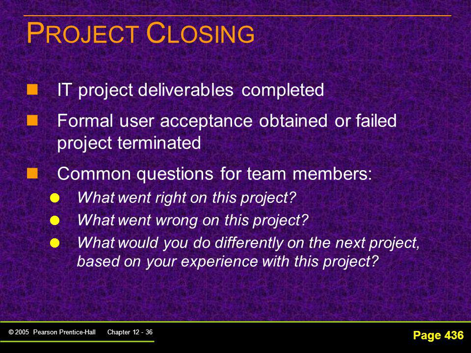 PROJECT CLOSING IT project deliverables completed
