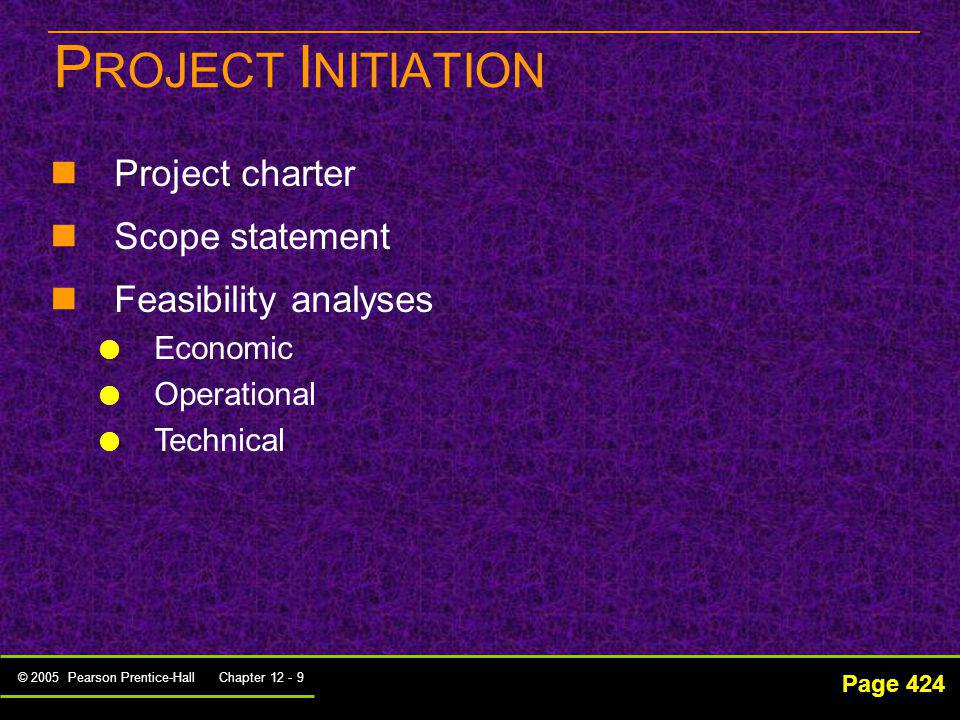 PROJECT INITIATION Project charter Scope statement