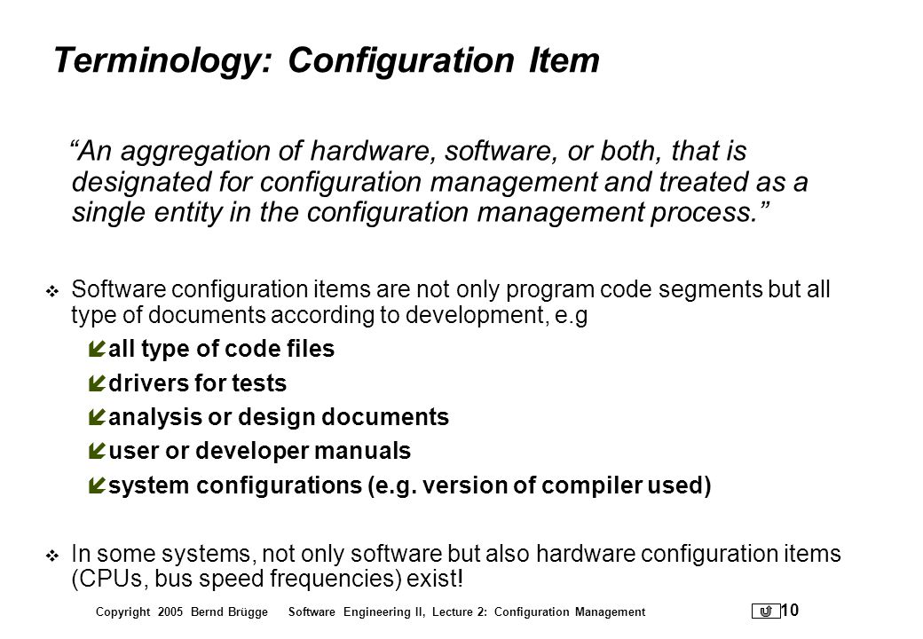 Terminology: Configuration Item