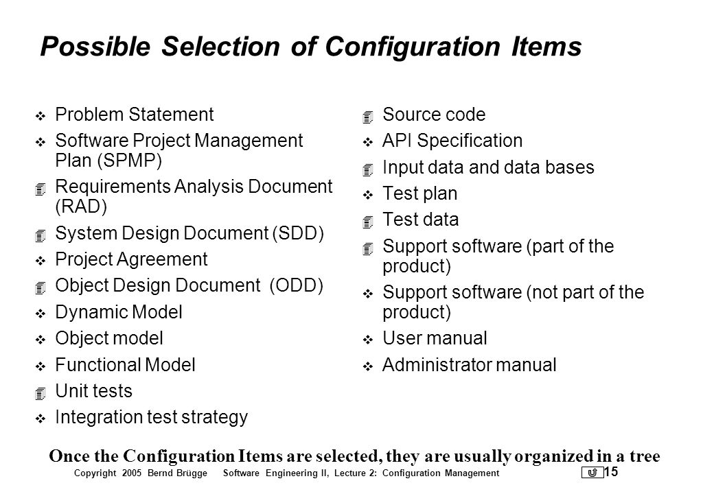Possible Selection of Configuration Items
