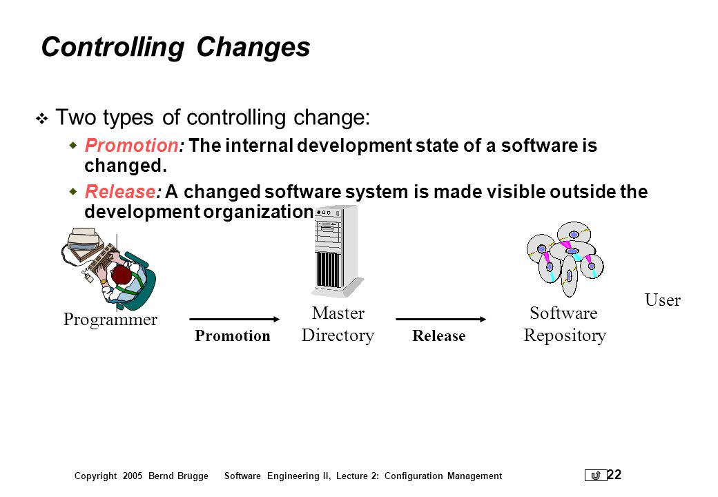 Controlling Changes Two types of controlling change: