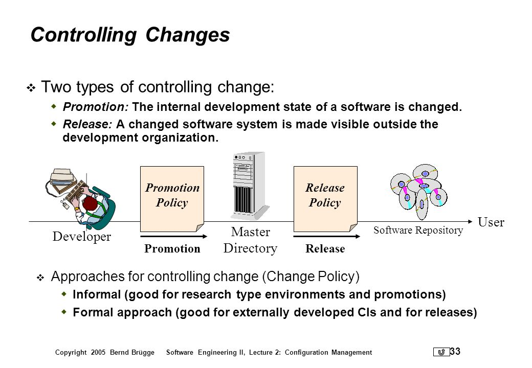 Controlling Changes Two types of controlling change: User Master