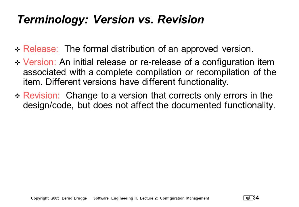 Terminology: Version vs. Revision