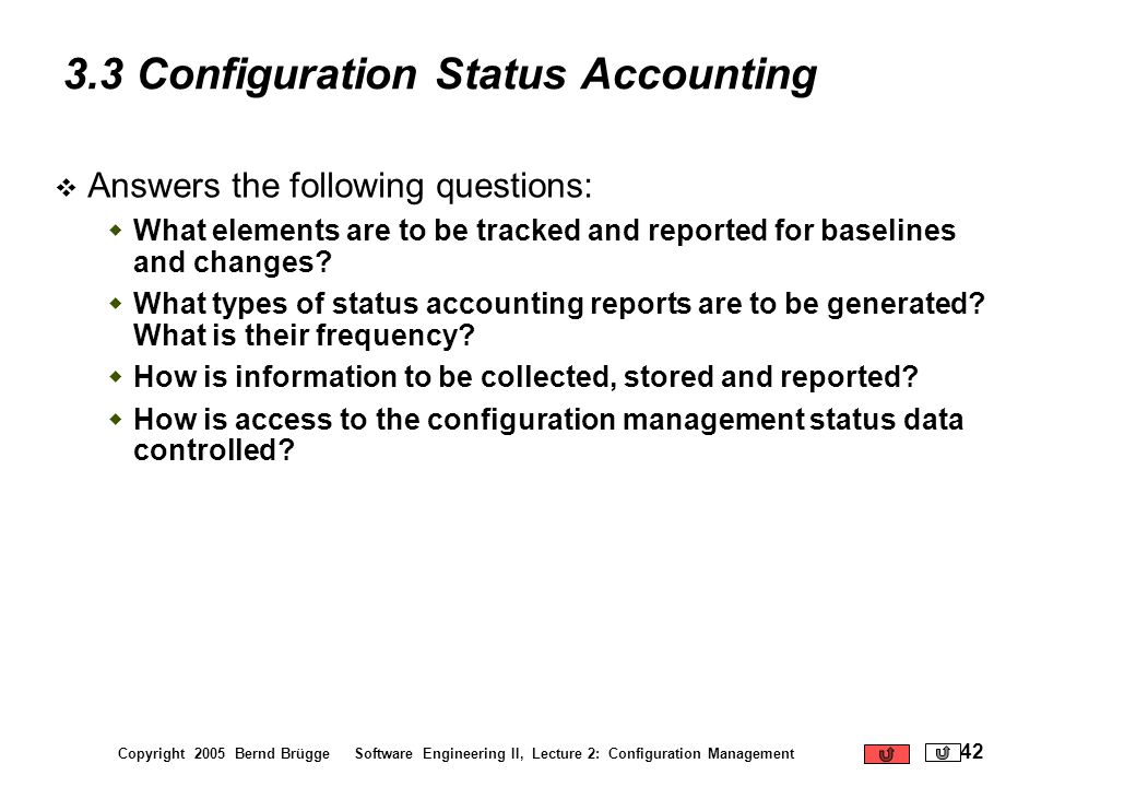 3.3 Configuration Status Accounting