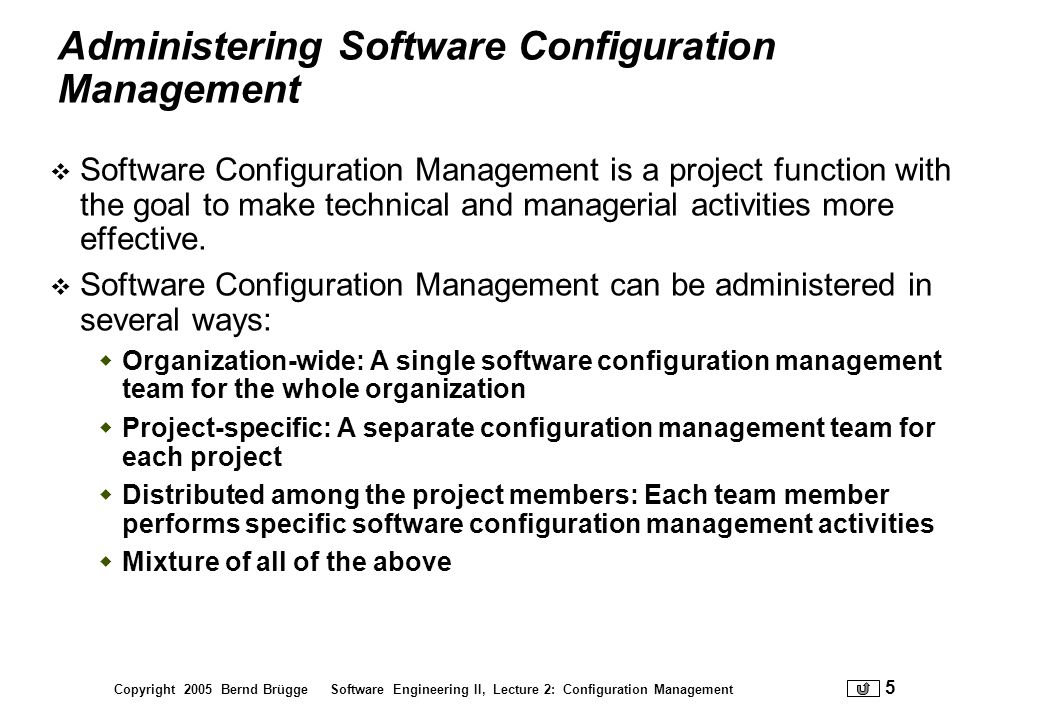 Administering Software Configuration Management