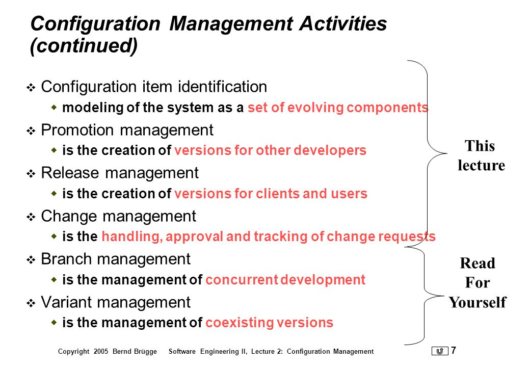 Configuration Management Activities (continued)