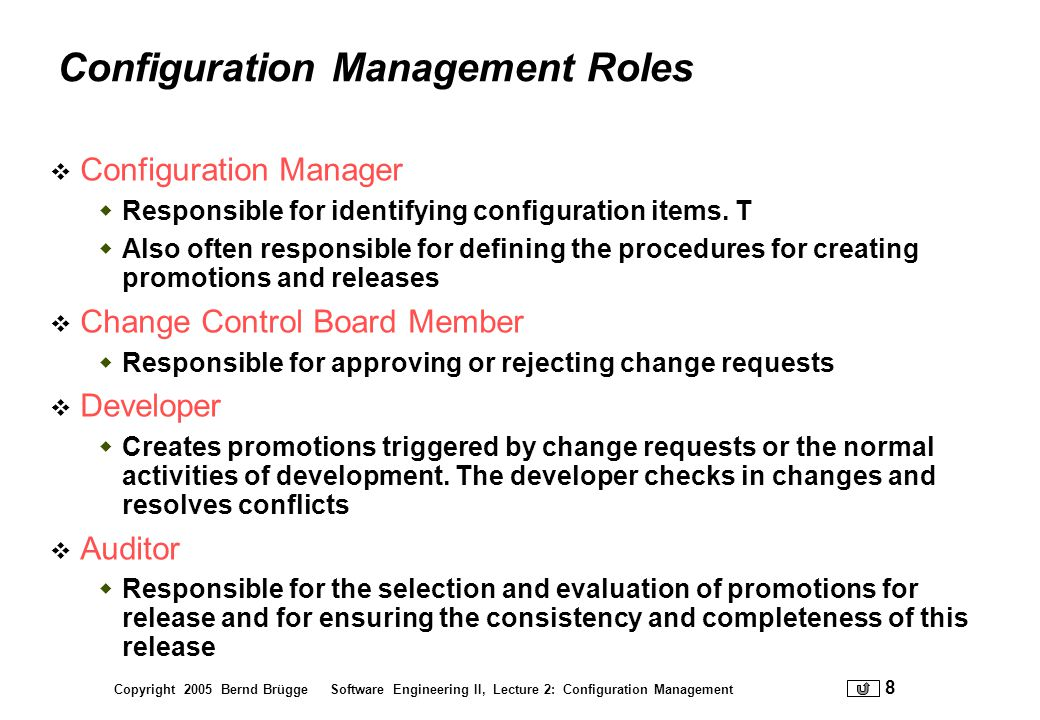 Configuration Management Roles