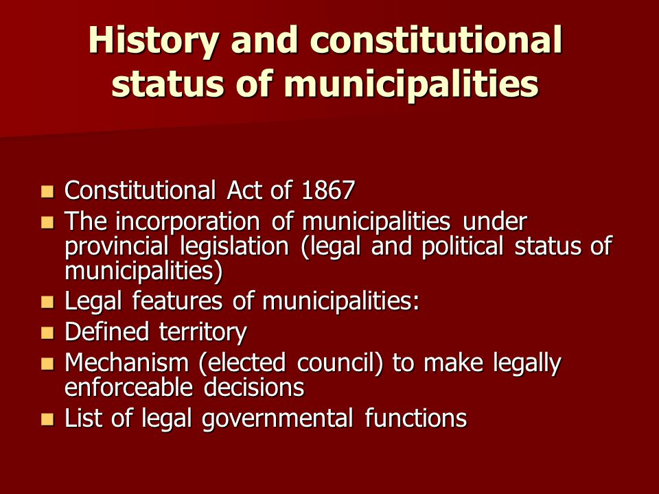 History and constitutional status of municipalities