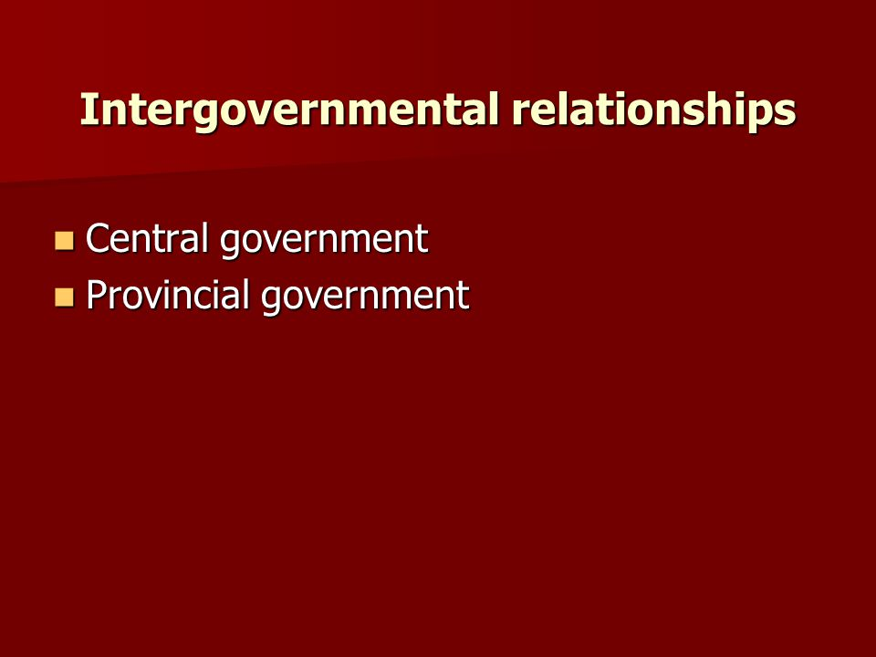 Intergovernmental relationships