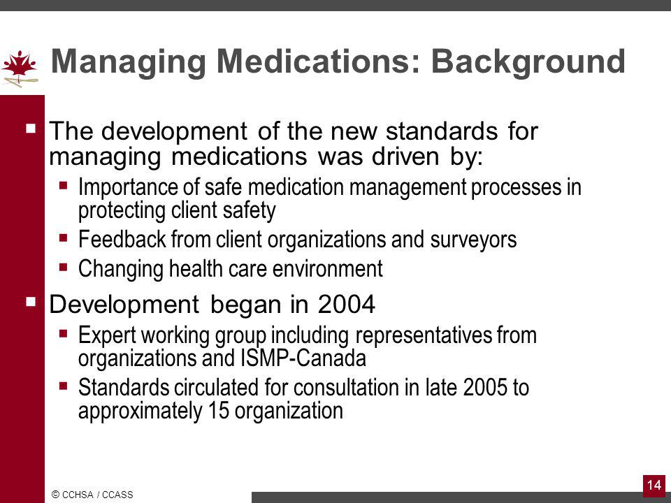 Managing Medications: Background
