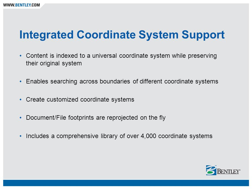 Integrated Coordinate System Support