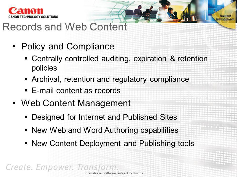 Records and Web Content