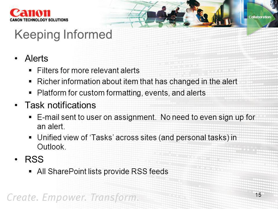 Keeping Informed Alerts Task notifications RSS
