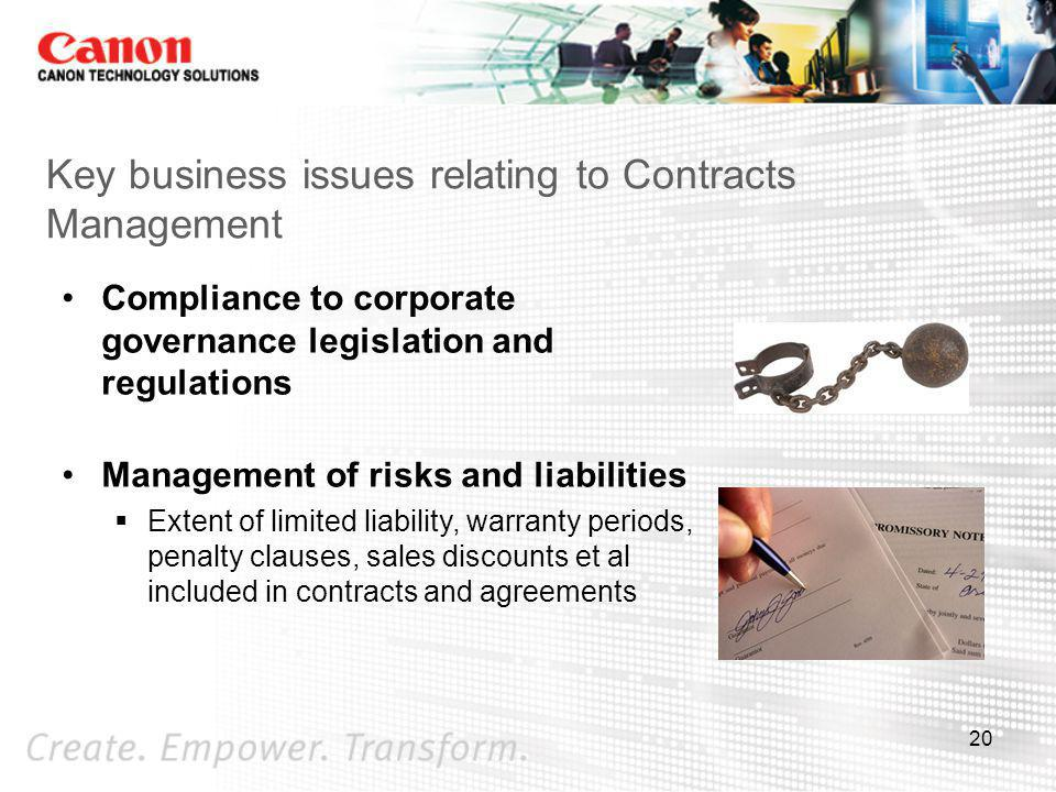 Key business issues relating to Contracts Management