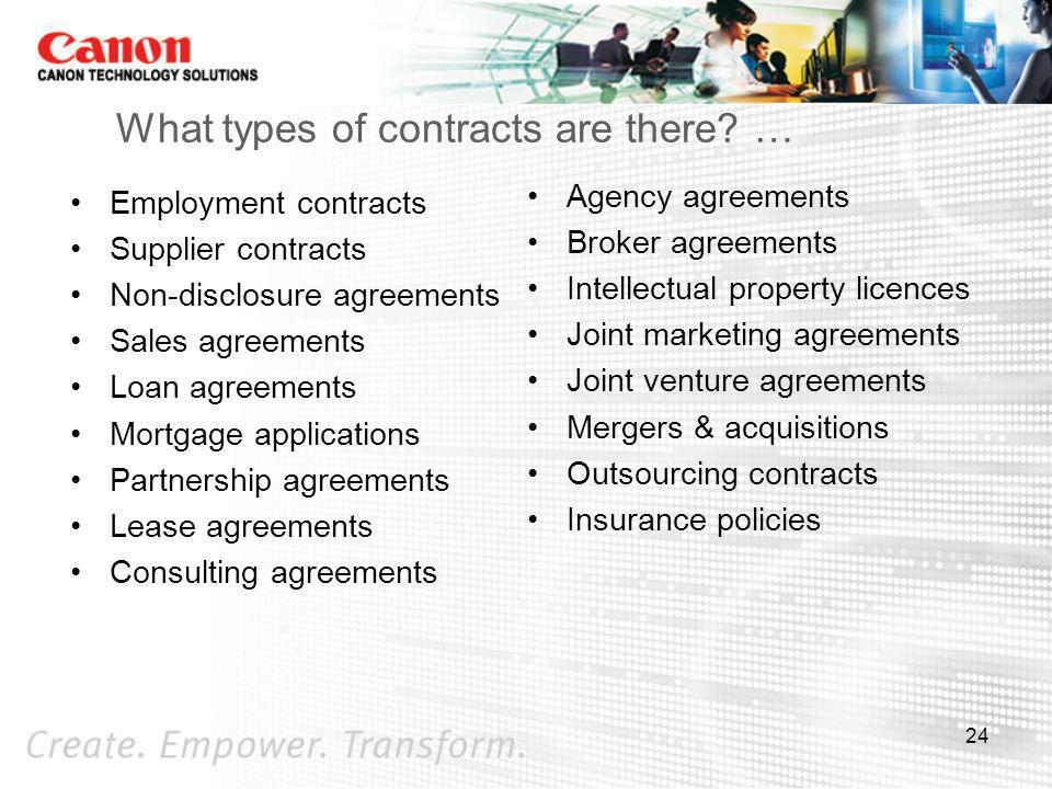 What types of contracts are there …