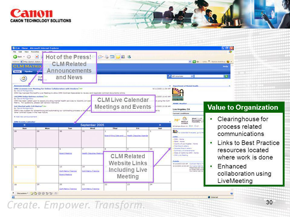 Value to Organization Clearinghouse for process related communications