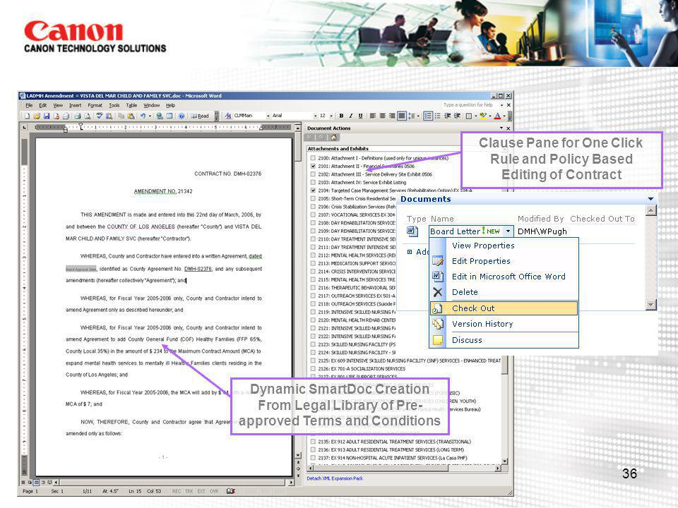 Clause Pane for One Click Rule and Policy Based Editing of Contract