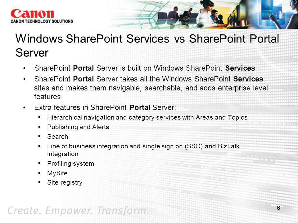 Windows SharePoint Services vs SharePoint Portal Server